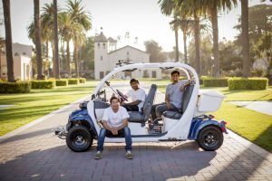 SCU will be the beta test site for autonomous shuttles - the company is called Auro Robotics, a company based out of Sunnyvale, California. (Photo credit: Joanne H. Lee/Santa Clara University)